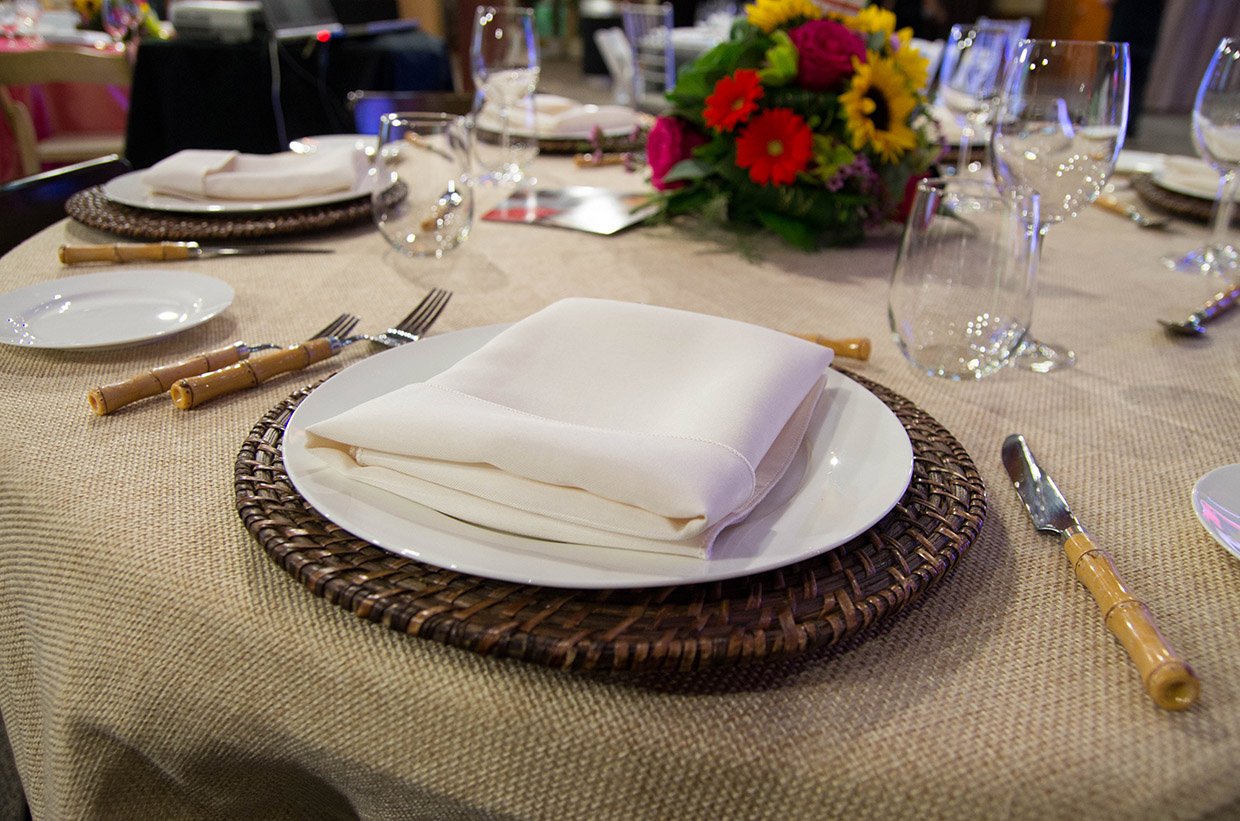 wedding reception table setting at Kortright Centre