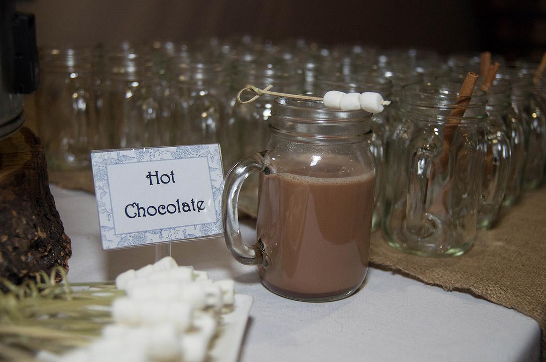 hot chocolate display at wedding reception