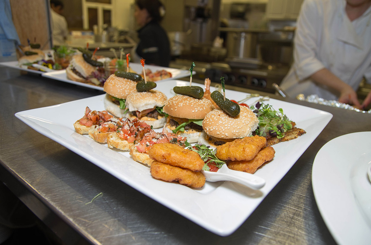 plate of sliders at wedding reception