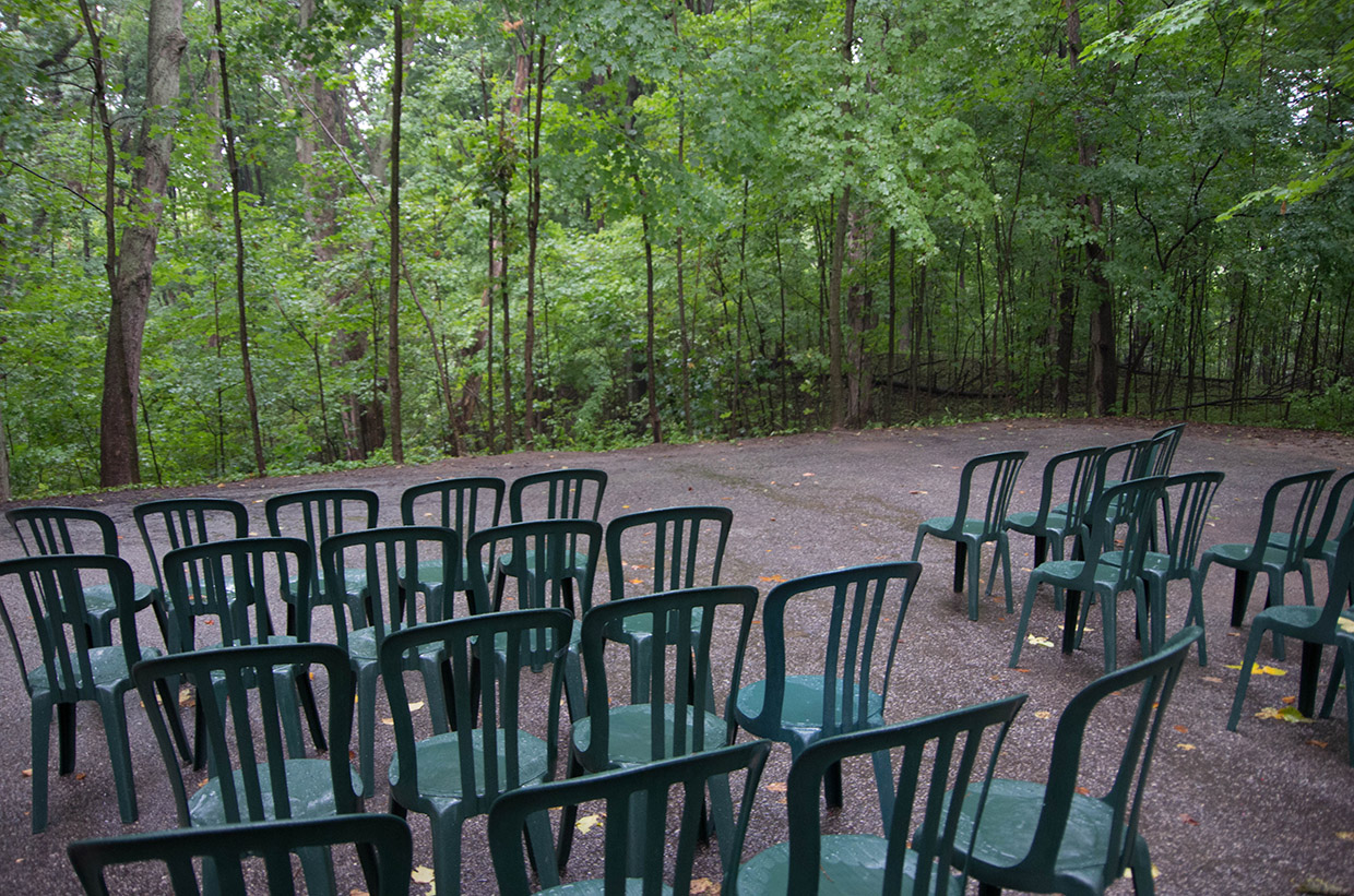 wedding setup in Forest Path at Kortright Centre