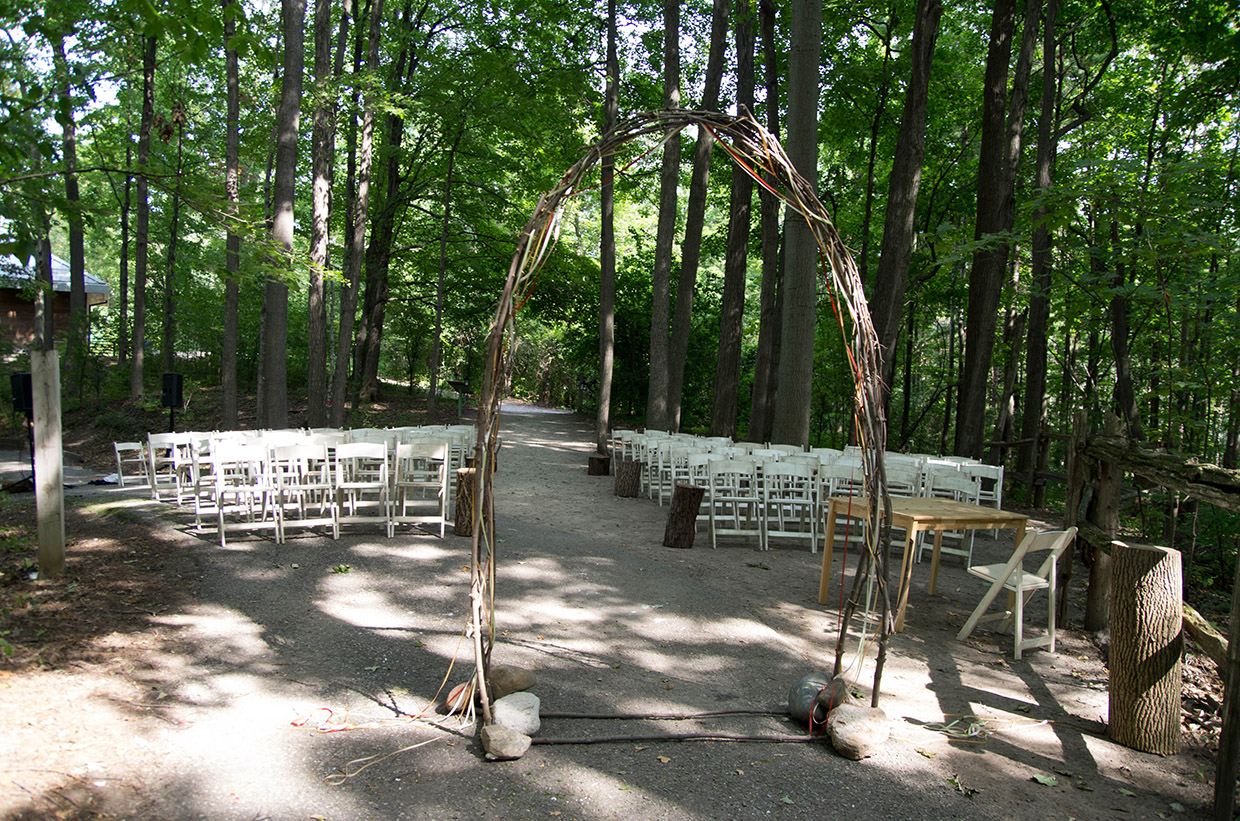 wedding setup in Cathedral of Trees at Kortright Centre