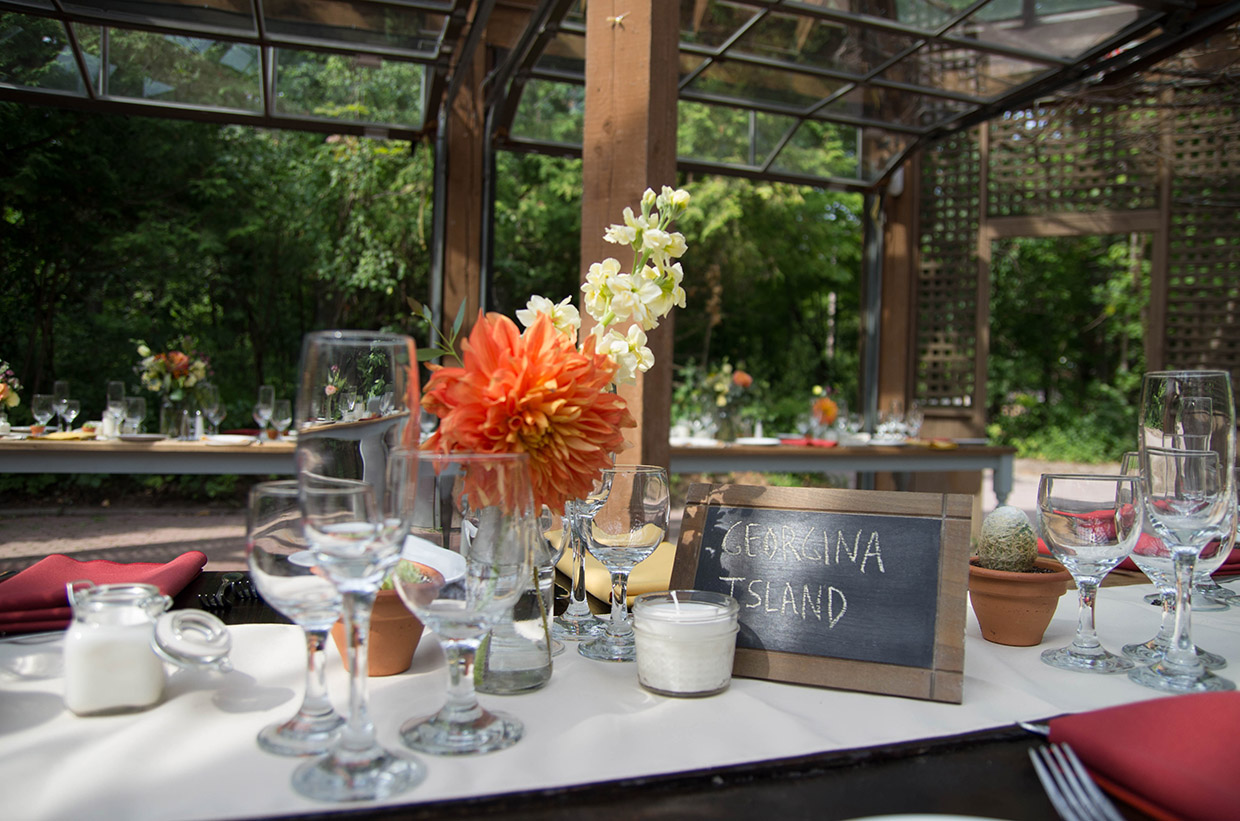 wedding setup in Glass House at Kortright Centre