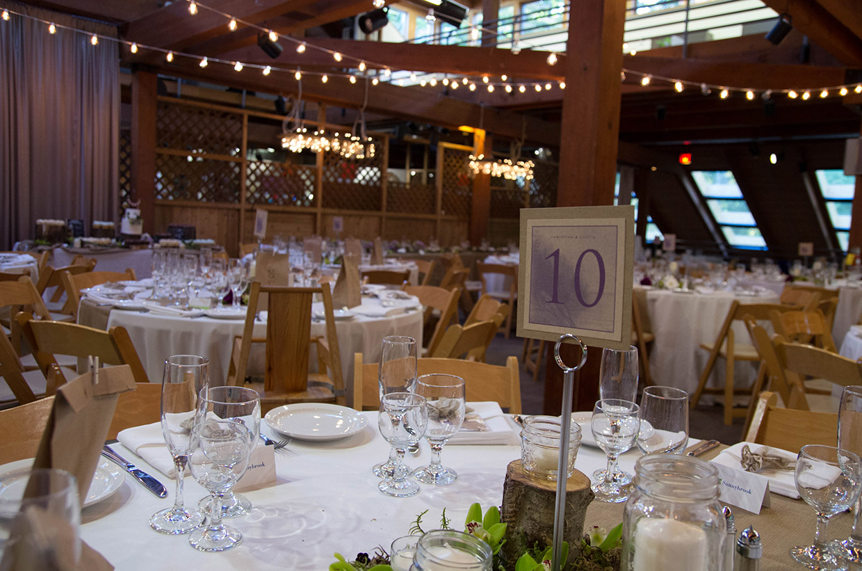 wedding setup in the main hall at Kortright Centre