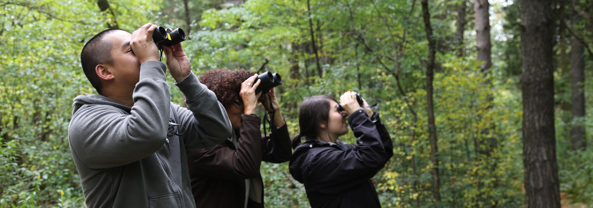 bird watchers at Kortright Centre