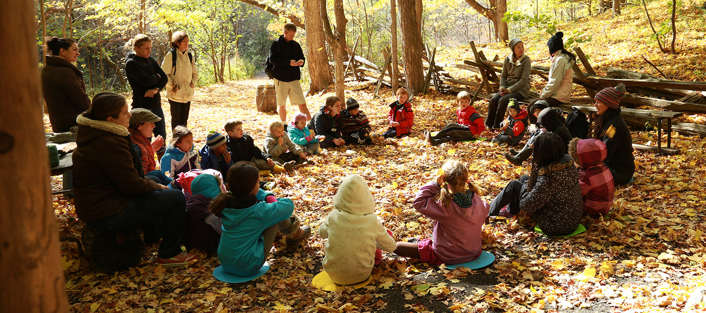 teacher and students at Kortright Centre Forest School