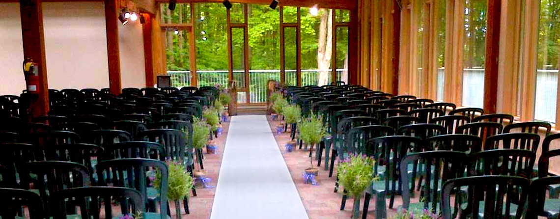 wedding setup in Forest Gallery at Kortright Centre