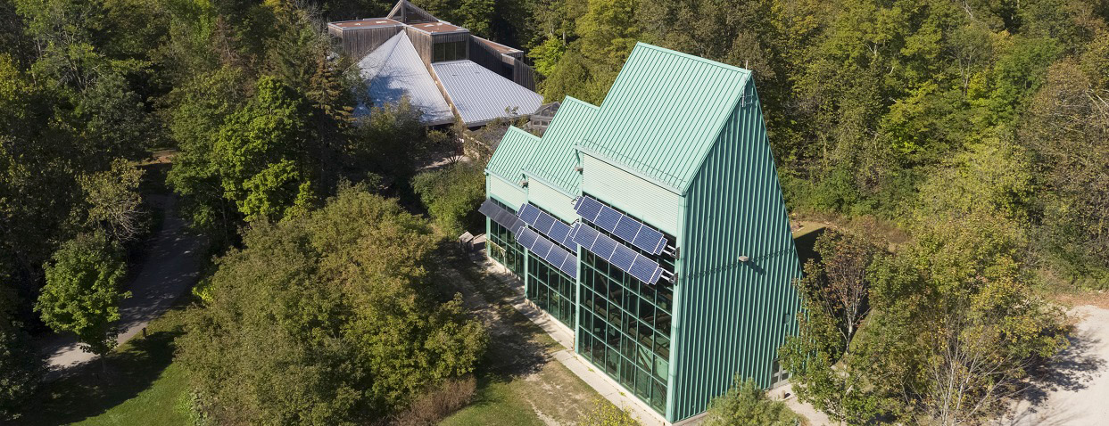 aerial view of Greenworks facility at Kortright Centre