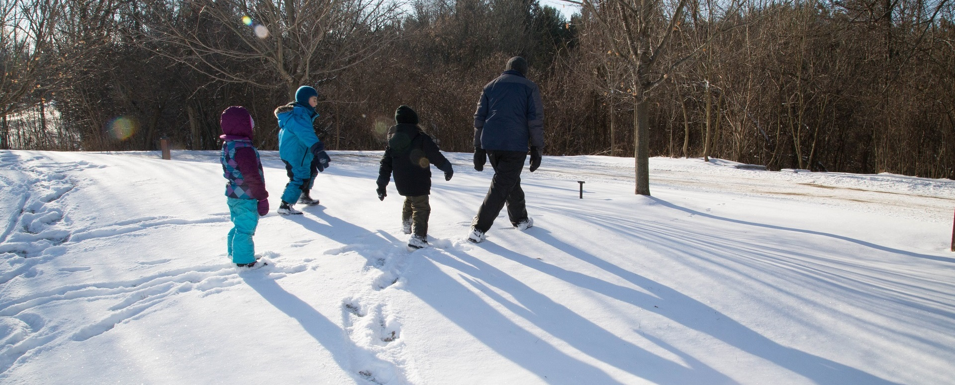 Students and teacher explore Kortright Centre nature trail in winter