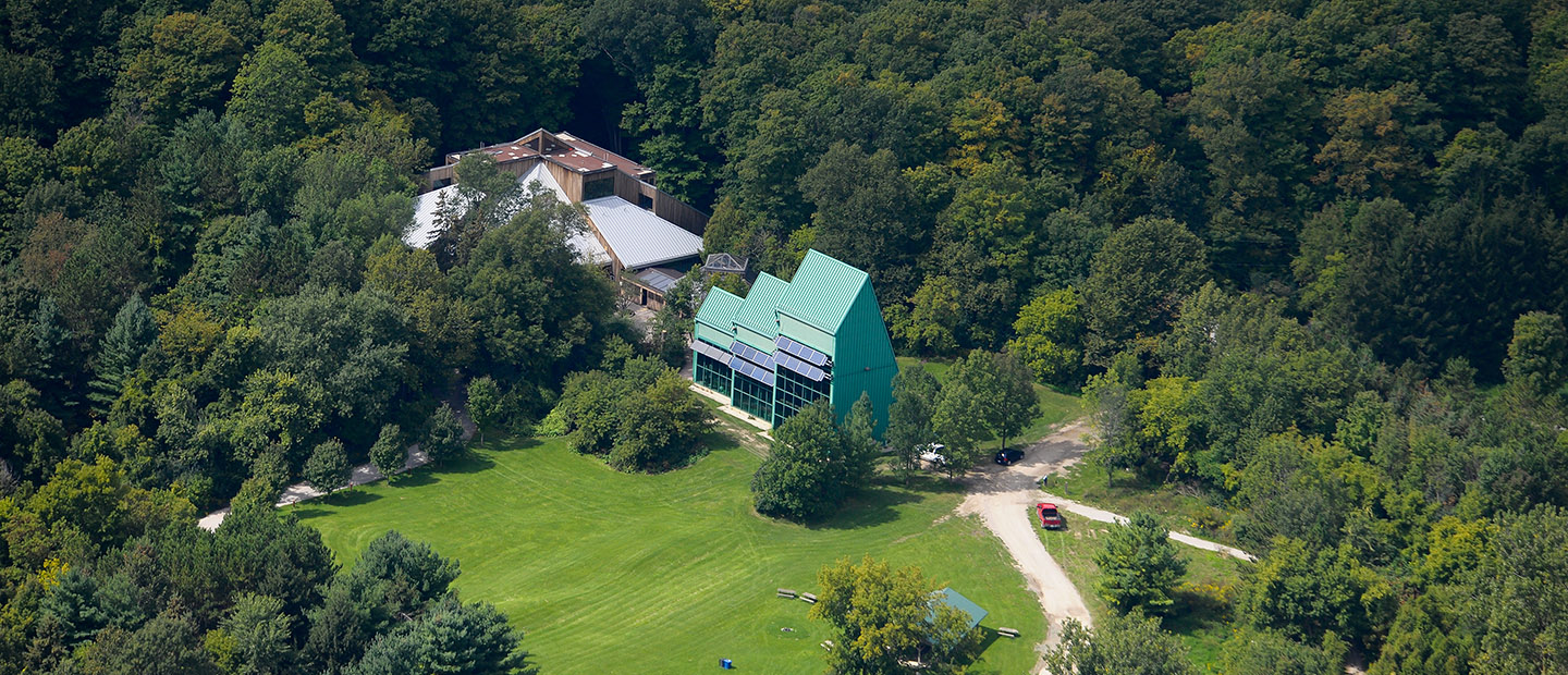 aerial view of Kortright Visitor Centre and Greenworks building