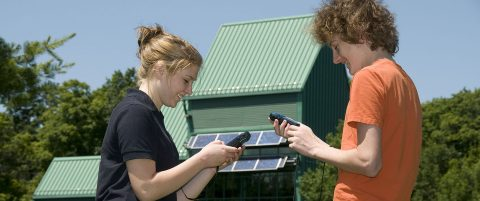 high school students practice GPS navigation at Kortright Centre