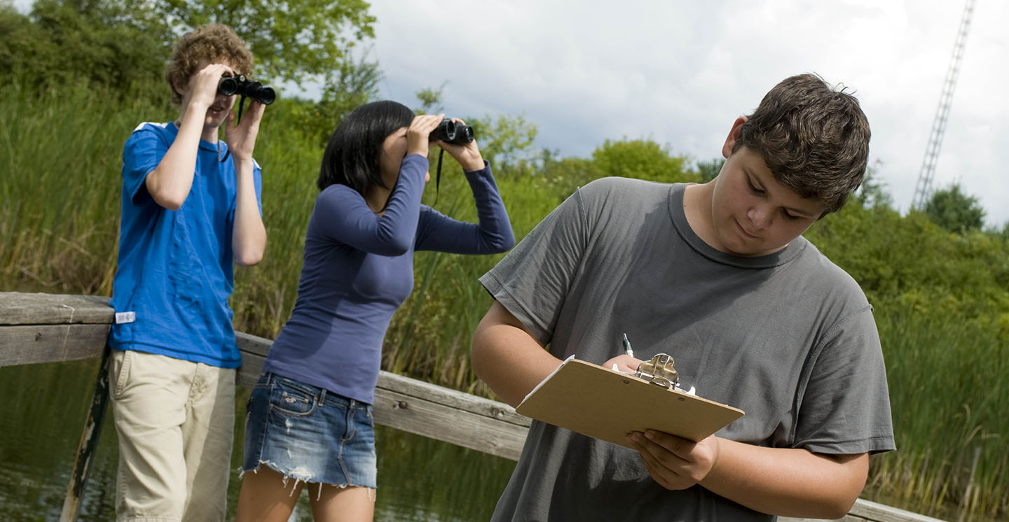 high school students tour Kortright Centre for Conservation