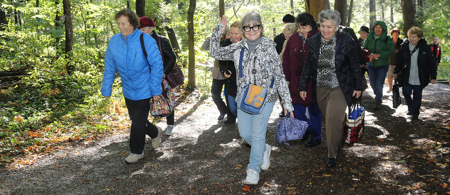 seniors enjoy a nature hike at Kortright Centre for Conservation