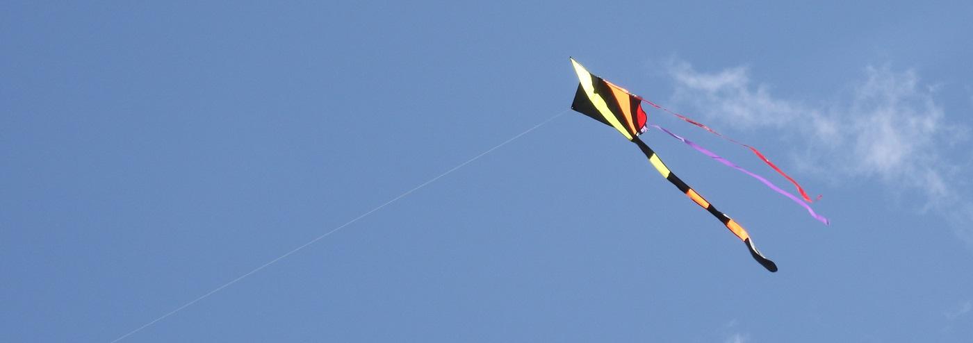kite soars in blue sky