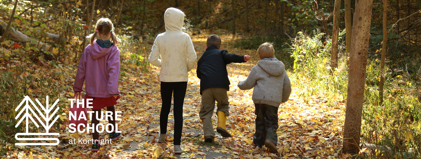 children explore trail at Kortright Centre