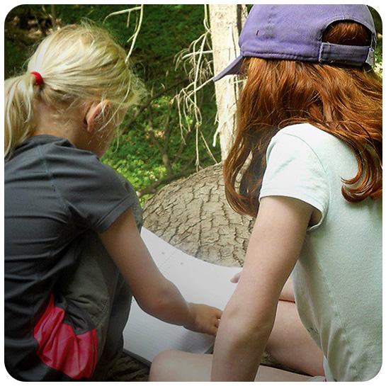 young girls at Nature School day camp