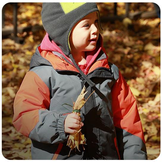 young boy attends Kortright Nature School preschool program