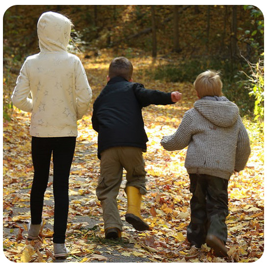 Children on a forest trail at Kortright Centre for Conservation
