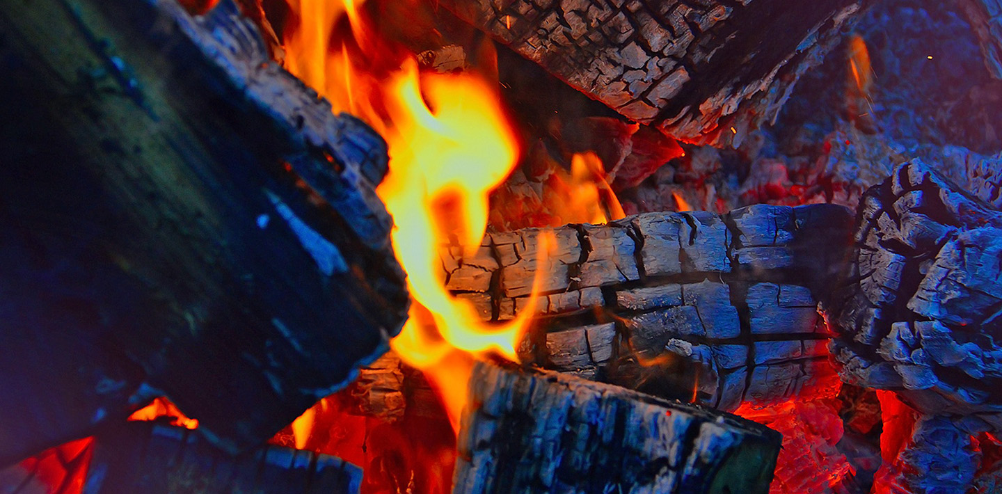 burning logs in campfire