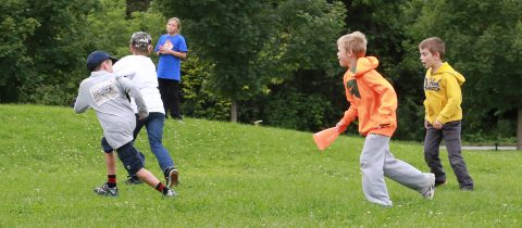 kids play outdoor games at Kortright Centre leadership adventure camp