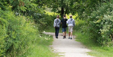 summer campers explore trail at Kortright Centre