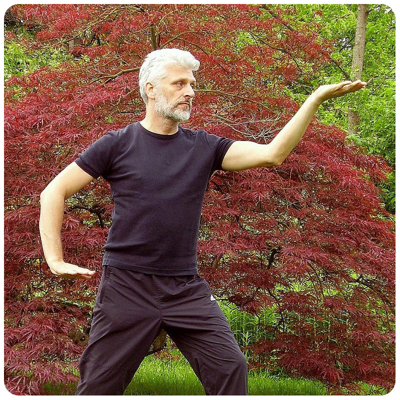 older man practices Tai Chi