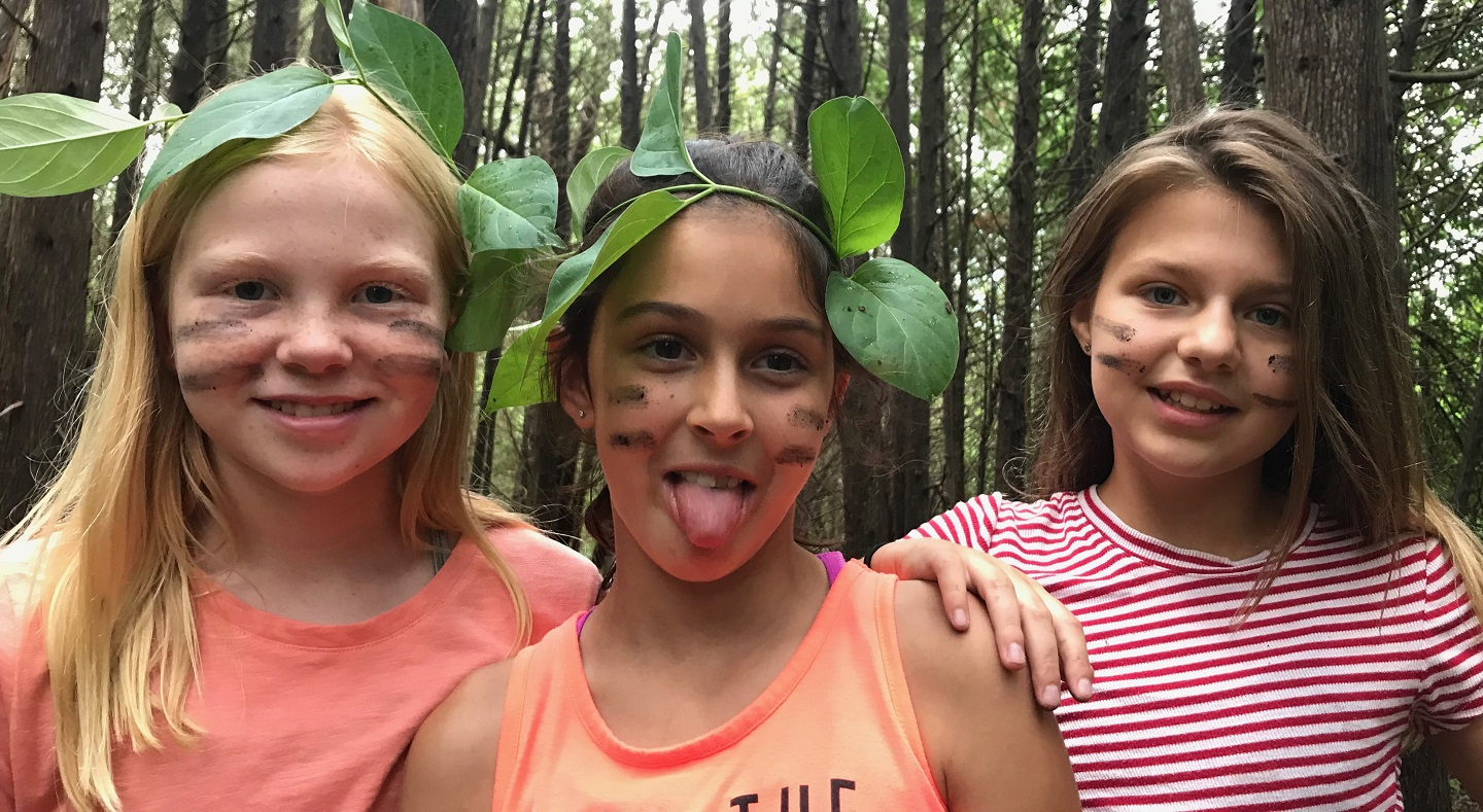 girls at Kortright summer nature day camp