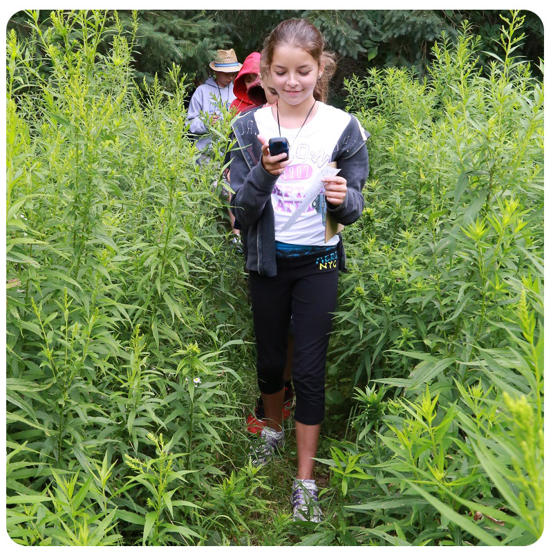 students practice with GPS devices at Kortright Centre