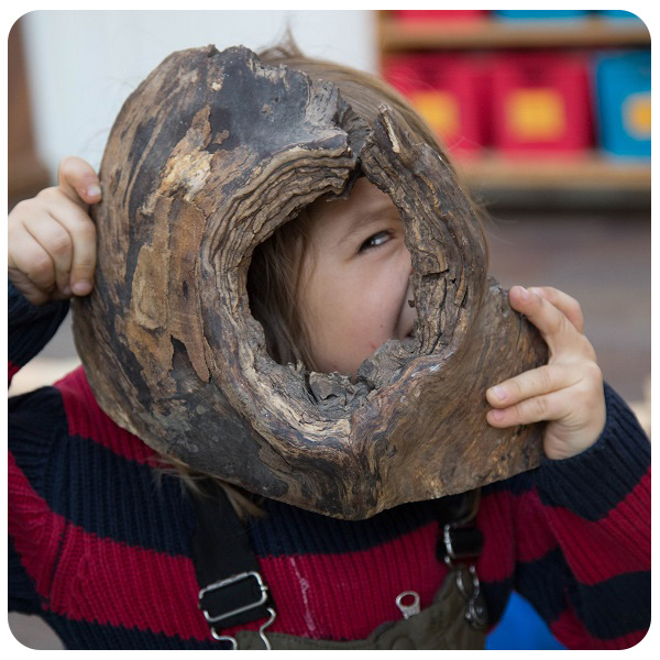 child looks through knot in piece of wood