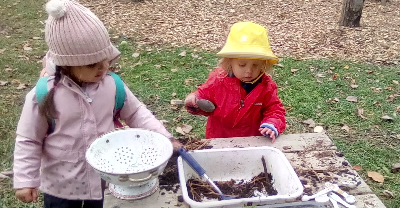 Nature school students get creative in the mud kitchen