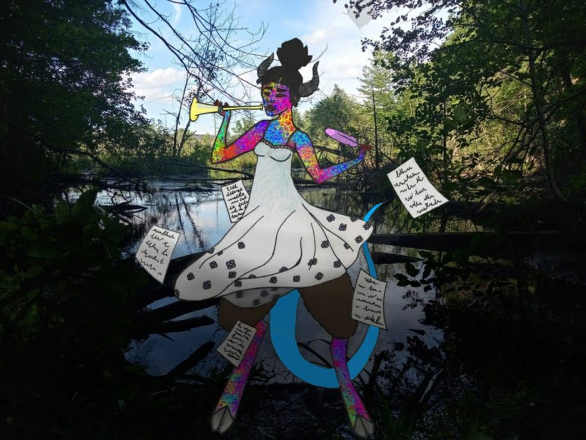 A graphic of a woman in a forest