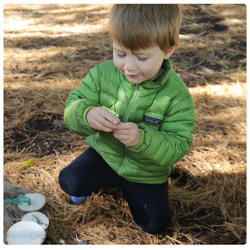 young student takes part in The Nature School Little Saplings parent and tot program at Claireville Conservation Area